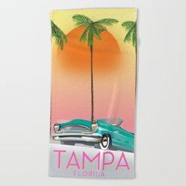 Tampa Florida Travel poster Beach Towel
