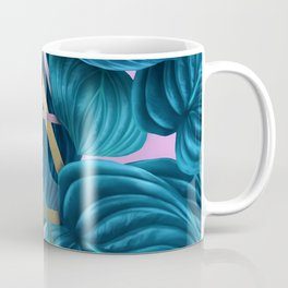 tropical turquoise leaves pattern Coffee Mug