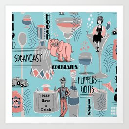 Prohibition Era, Cocktails, Anyone? Art Print