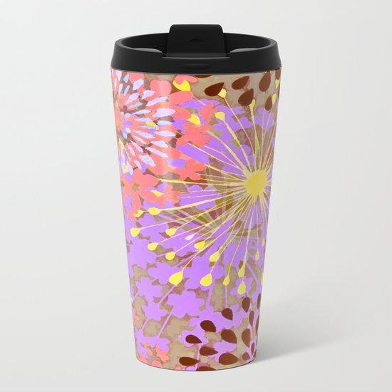 Bright Floral Explosion Abstract Metal Travel Mug