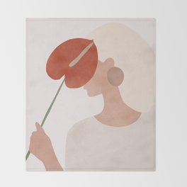 Lady with a Red Leaf Throw Blanket