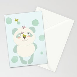 Panda and Butterflies Stationery Cards