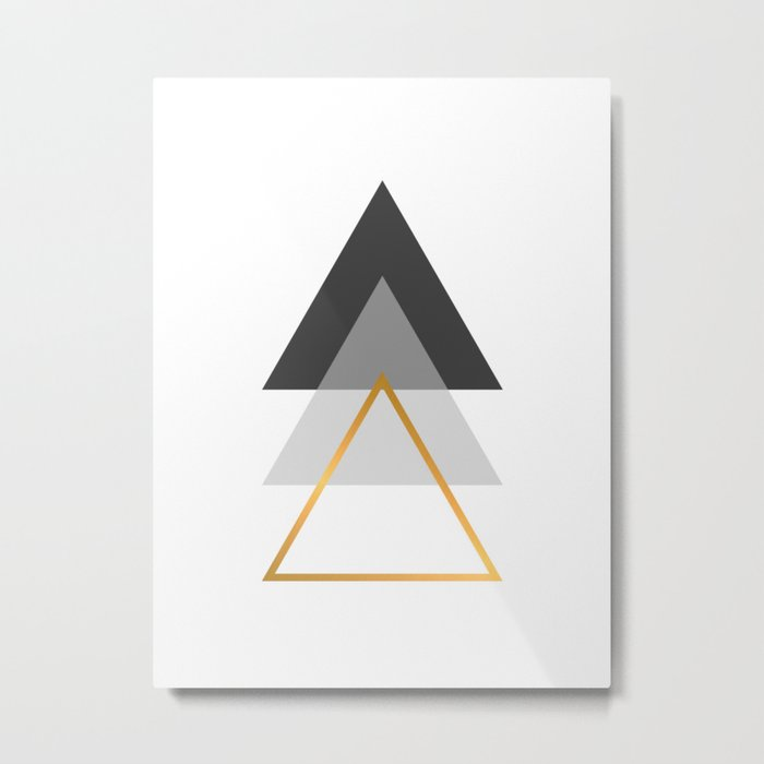 Triangles art, Black, white and gold Metal Print