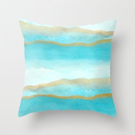 Gold and blue sea Throw Pillow