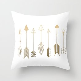 Be Brave Little Arrow (gold) Throw Pillow