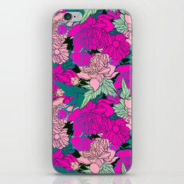 bright and colorful design with peonies iPhone Skin