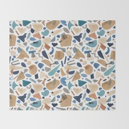 Geometric shapes abstract Blue gold Throw Blanket