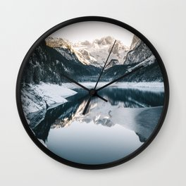 amazing Reflections at Lake Gosau in Winter Wall Clock
