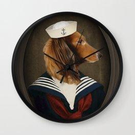 Doxie Dachshund Art - Sailor Charli Wall Clock
