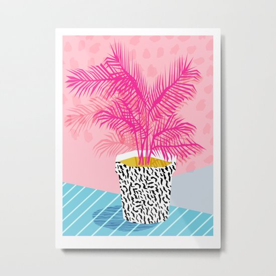 No Can Do - hipster abstract neon 1980s style memphis print palm springs socal los angeles desert Metal Print