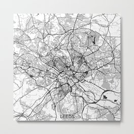 Leeds Map Gray Metal Print