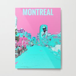 Montreal Downtown Crescent Street Painted Photograph Pop Art Metal Print