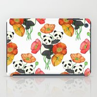 pandas iPad Cases featuring Poppies & Pandas by micklyn
