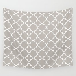 Classic Quatrefoil pattern, warm grey Wall Tapestry