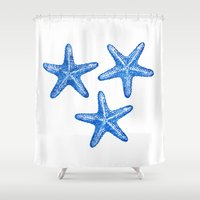 starfish Shower Curtains featuring Starfish by Chilligraphy