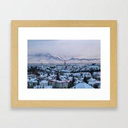 Icy Mountains in Reykjavik Framed Art Print