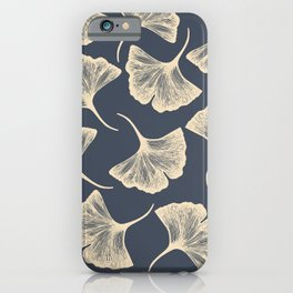 Ginkgo leaves / Elegant / Blue and gold iPhone Case