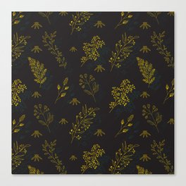 Thin delicate lines silhouettes of different plants. Canvas Print