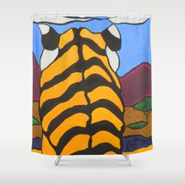 Stain glass Tiger Shower Curtain