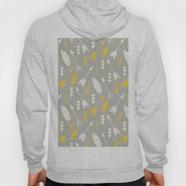 Bohemian feathers and arrows, beige and yellow on gray Hoody