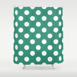 Illuminating emerald - green - White Polka Dots - Pois Pattern Shower Curtain