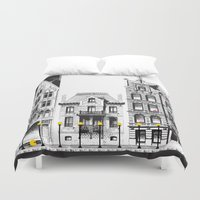 pac man Duvet Covers featuring Pac-Man City by Ryan Huddle House of H
