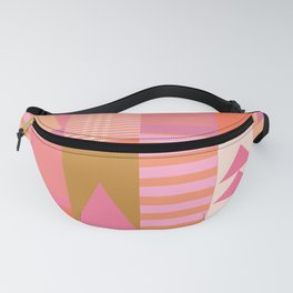 Pink and Orange Colorful Geometric Pattern Graphic Design Fanny Pack