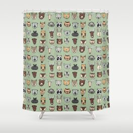 Wild Animal Portraits Green Texture Shower Curtain