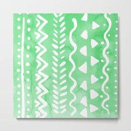 Loose boho chic pattern - green Metal Print