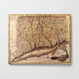 Map Of Connecticut 1795 Metal Print
