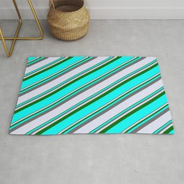 Dim Gray, Lavender, Dark Green, and Cyan Colored Lined/Striped Pattern Rug
