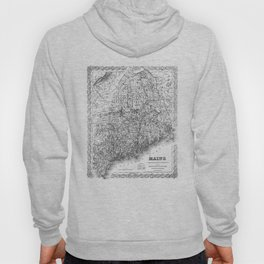 Vintage Map of Maine (1894) BW Hoody