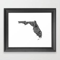 Typographic Florida Framed Art Print