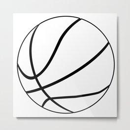 Black And White Basketball Metal Print
