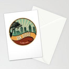 San Diego City Skyline California Retro Vintage Design Stationery Cards