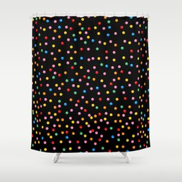 Rainbow Gumballs Black Shower Curtain