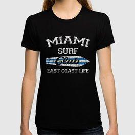Miami Surf Club Vintage Retro Surfing Beach Distressed T-shirt