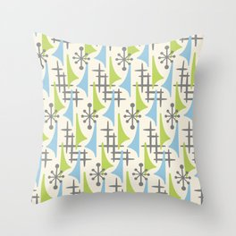 Mid Century Modern Atomic Wing Composition 92 Blue Chartreuse and Gray Throw Pillow