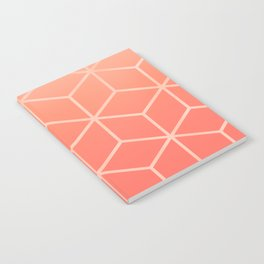 Living Coral Gradient - Geometric Cube Design Notebook