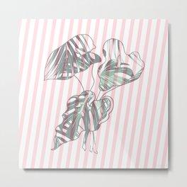 stripe flower leaf II Metal Print