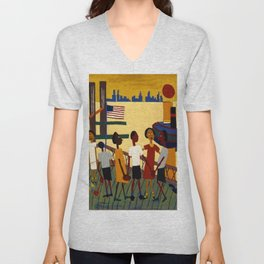 African American Masterpiece 'Ferry' NYC by William Johnson Unisex V-Neck