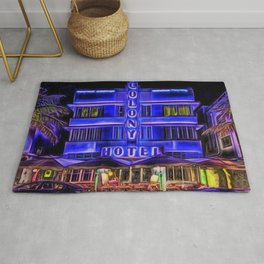 Ocean Drive South Beach Colony Hotel Midnight Cafe Dinner landscape by Jeanpaul Ferro Rug