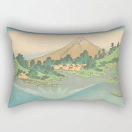Reflection in Lake at Misaka in Kai Province, Thirty-six Views of Mount Fuji by Katsushika Hokusai Rectangular Pillow