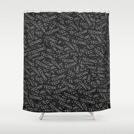 Dozens of techno stickers Shower Curtain