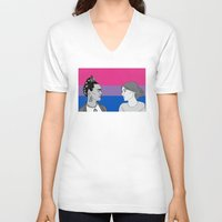 bisexual V-neck T-shirts featuring Bisexual Pride by Grace Teaney Art