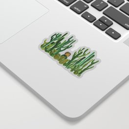 In my happy place - hedgehog meditating in cactus jungle Sticker