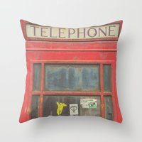 telephone Throw Pillows featuring Telephone by Benjamin Robles Art