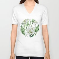lily V-neck T-shirts featuring Lily by Julia Badeeva