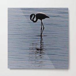 Artistic Silhouette of a Solitary Flamingo Metal Print