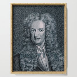 Gravity / Vintage portrait of Sir Isaac Newton Serving Tray